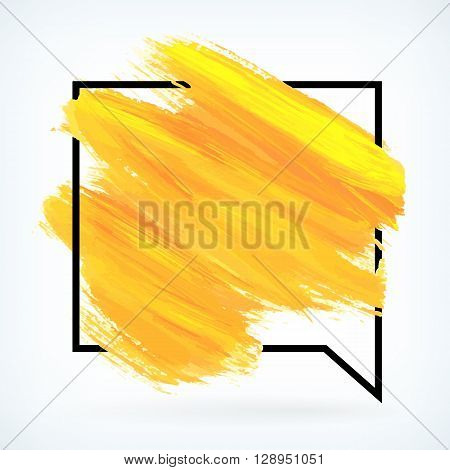 Yellow paint artistic dry brush in stroke speech bubble. Watercolor acrylic hand painted backdrop for print web design and banners. Realistic vector background texture