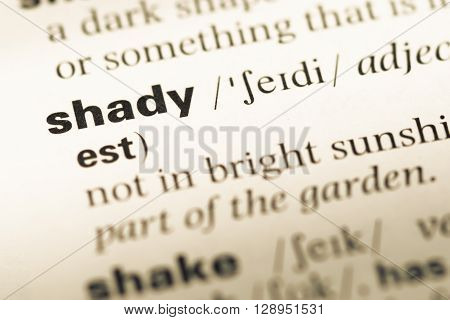 Close Up Of Old English Dictionary Page With Word Shady.