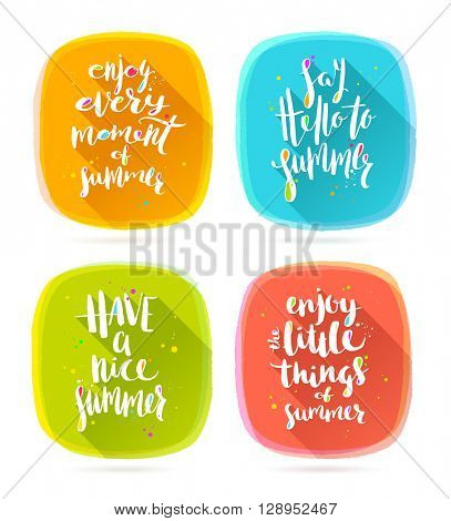 Set of summer holidays greetings. Summer calligraphy. Summer holidays. Summer vector. Summer illustration. Summer vacation. Summer quote. Summer travel. Summer rest. Summer greeting.