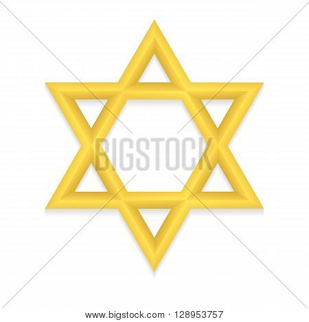 Golden six pointed geometric star figure. Star of David. Hexagram. Vector, esp10.