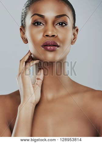 Close Up Of Seductive Woman With Hand On Neck