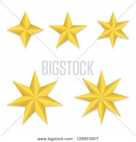Set of five different golden stars. Vector, eps10.