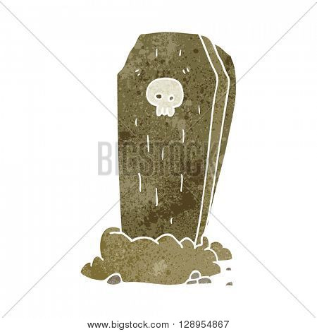 freehand retro cartoon spooky coffin