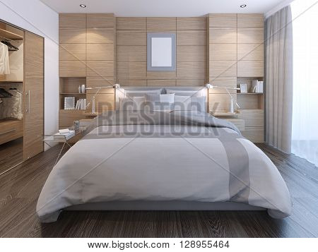 Elegant bedroom with wall decoration. Spacious room with lush bed white walls with decorative wooden panels and entrance to wardrobe. 3D render