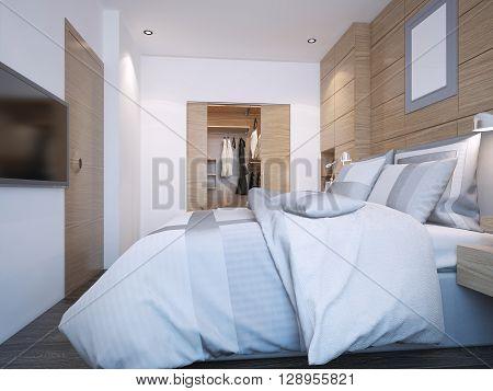 Design of modern bedroom with walk-in closet. 3D render