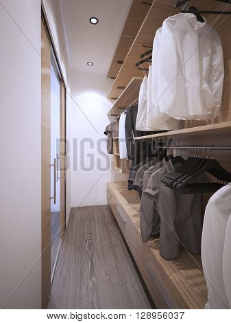 Roomy walk-in closet modern style. 3D render