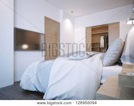 Minimalist hotel bedroom design with white walls and walk-in closet. 3D render