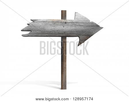 Old wood arrow sign isolated on white