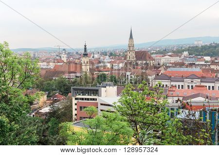 Cluj Napoca city upperview east europe romania