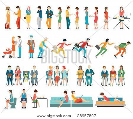 Crowd of people characters cartoon isolated on white background. flat design vector illustration.