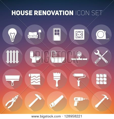 Set of house renovation icons. Tools, furniture and equipment for home remodeling. Flat style transparent icons