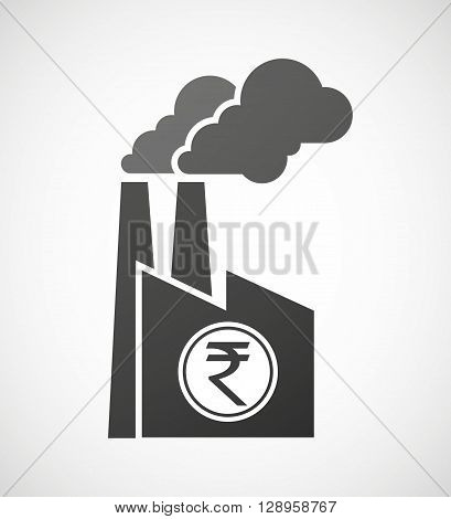 Isolated Industrial Factory Icon With  A Rupee Coin Icon