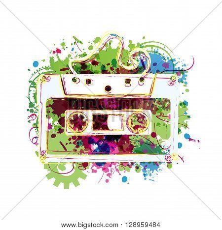 Vector illustration of colorful cassette tape background