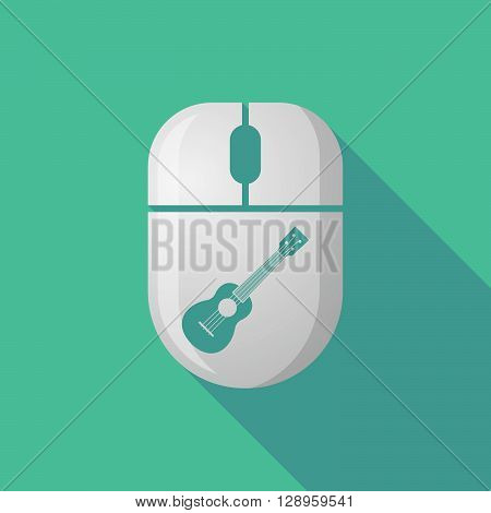 Wireless Long Shadow Mouse Icon With   An Ukulele
