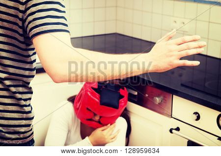 Woman in fear of domestic abuse.