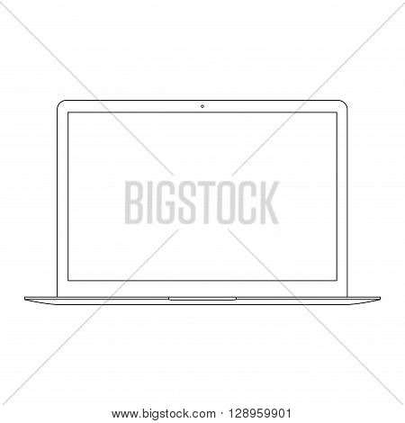 laptop outline icon on the white background. stock vector illustration eps10