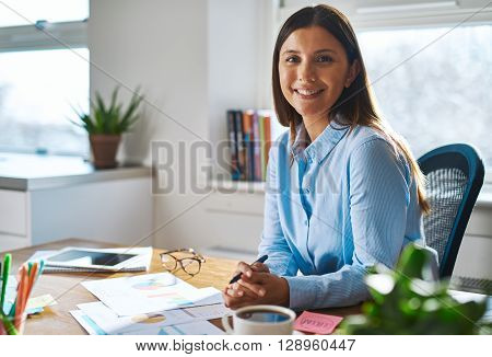 Smiling Professional Woman Working At Home