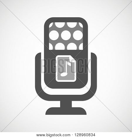 Isolated Mic Icon With  A Music Score Icon