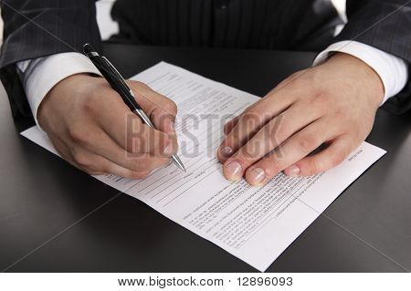 signing contract, application form