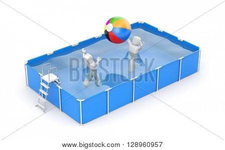 People play with a ball in the pool. 3d illustration