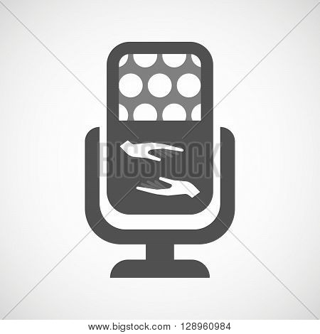 Isolated Mic Icon With  Two Hands Giving And Receiving  Or Protecting