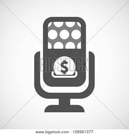 Isolated Mic Icon With  A Dollar Coin Entering In A Moneybox