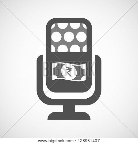 Isolated Mic Icon With  A Rupee Bank Note Icon
