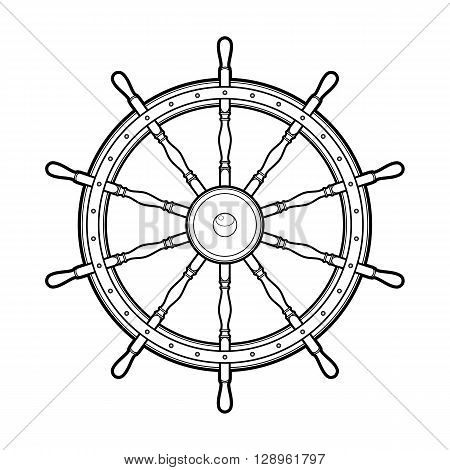 Graphic marine steering wheel drawn in line art style. Ocean vector emblem isolated on white background. Coloring book page design