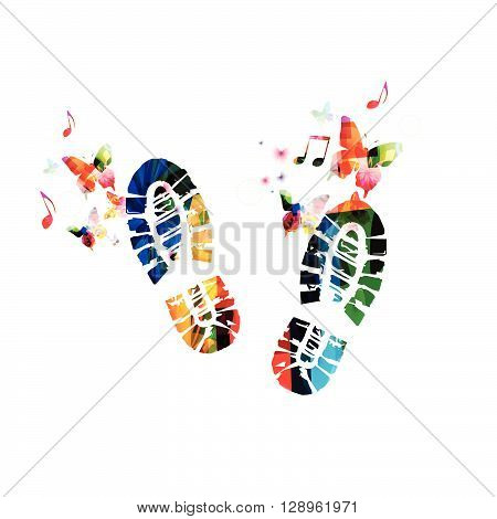 Vector illustration of colorful shoe footprint with butterflies