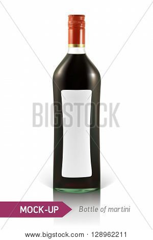 Realistic martini bottle or other vermouth bottle. Mockup on a white background with shadow and reflection.