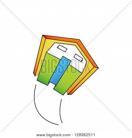 Flying colored house with a trail isolated on the white background.