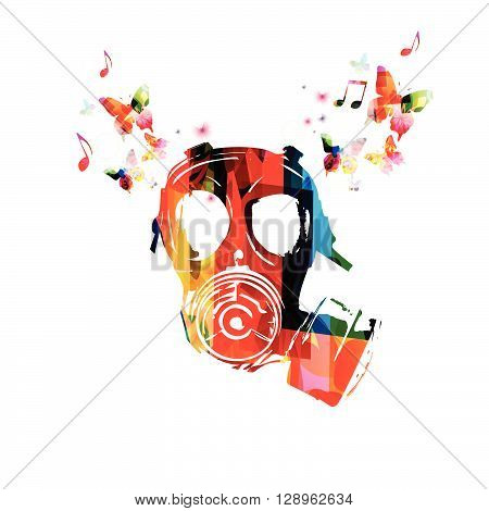 Vector illustration of colorful army gas mask with butterflies