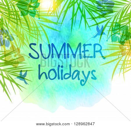Summer tropical background with palm leaves and watercolor texture. Tropical flowers on a blue background.
