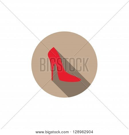 Flat vector icon with long shadow effect in stylish colors of web design objects business office. Women's shoes.