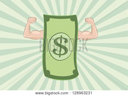 vector illustration of dollar banknote showing muscle arms on green sunburst background. money power concept. eps 10