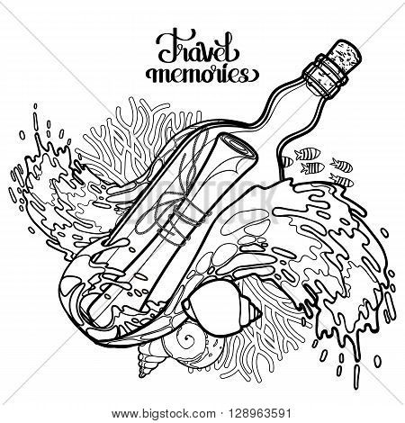 Message in the bottle among the storm waves.  Travel memories collection. Vector marine design isolated on white background. Coloring book page design