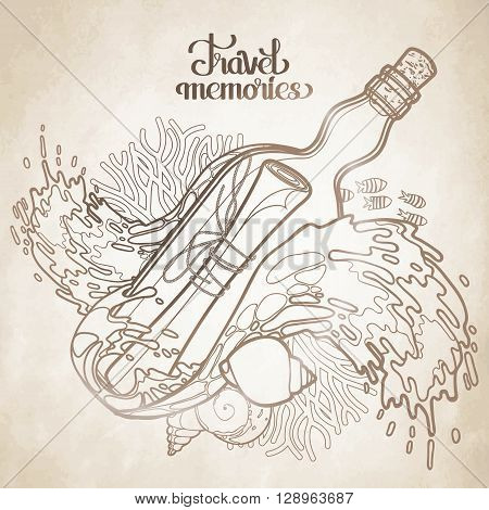 Message in the bottle among the storm waves.  Travel memories collection. Vector marine design isolated on old paper texture