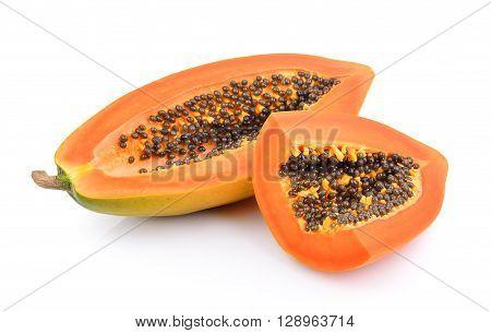 papaya slice isolated on a white background
