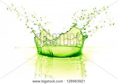 lime drink splash on white background