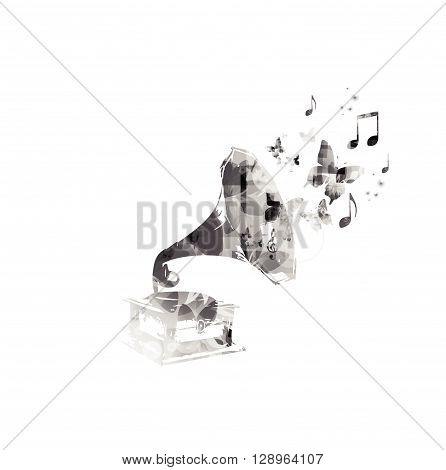 Music background with gramophone and notes. Vector illustration