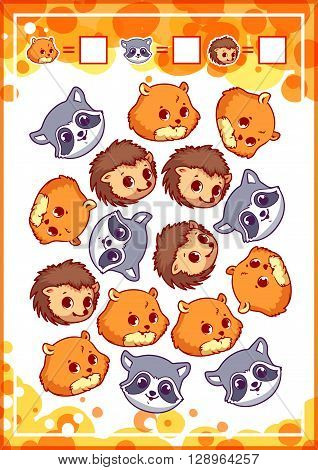 Education counting game for preschool kids with funny animals. How many hamsters hedgehogs and raccoons do you see? Cartoon vector illustration.