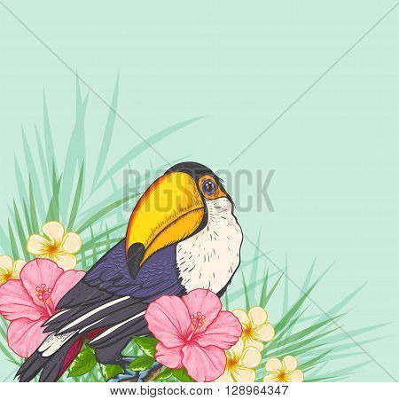 Summer tropical background with toucan and flowers. Green floral tropical background.