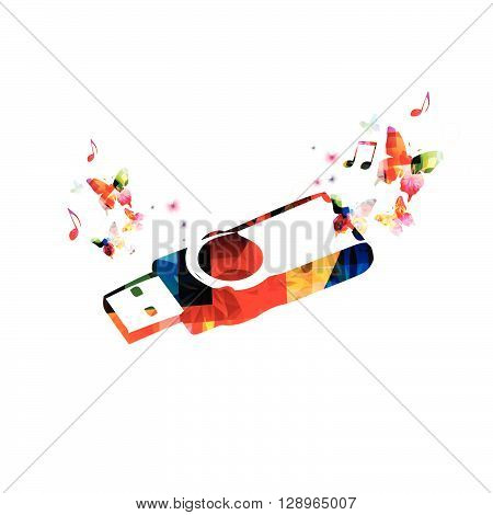 Vector illustration of colorful USB memory stick with butterflies