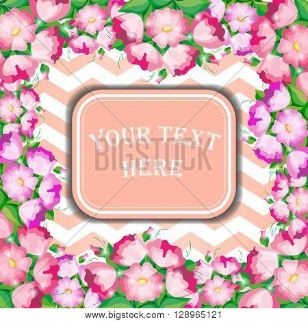 Tender invitation with pink flowers and light background