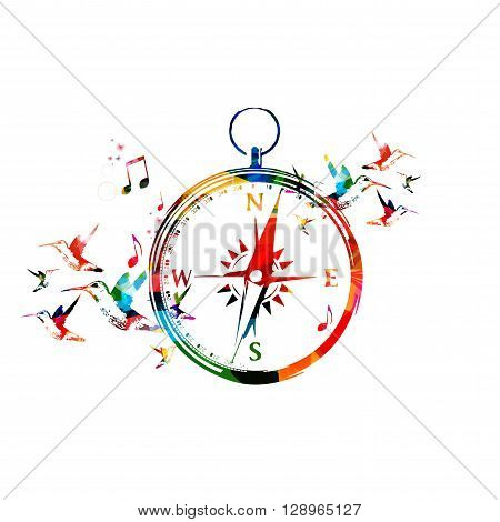 Vector illustration of colorful compass with hummingbirds