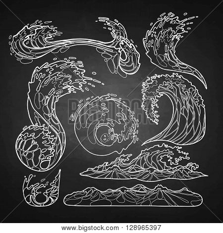 Ocean storm waves collection drawn in line art style. Tsunami. Vector marine elements isolated on chalkboard