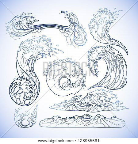 Ocean storm waves collection drawn in line art style. Tsunami. Vector marine elements in blue colors isolated on white background