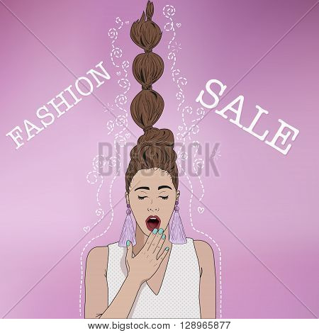 Fashion girl in sketch style on pink background. Woman surprised and shocked. Hair sticking up. Place for your text.