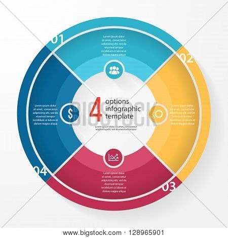 Vector business pie chart template for graphs charts diagrams. Business circle infographic concept with 4 options parts steps processes.