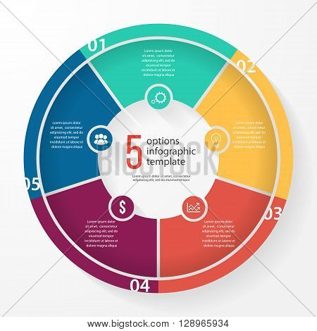 Vector business pie chart template for graphs charts diagrams. Business circle infographic concept with 5 options parts steps processes.